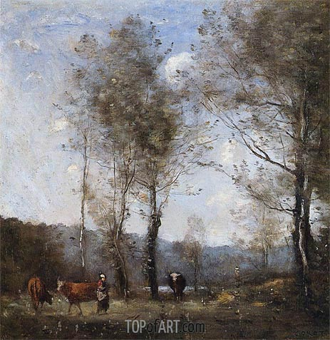 Ville-d'Avrey, Cowherd in a Clearing near a Pond, c.1871/72 | Corot | Painting Reproduction