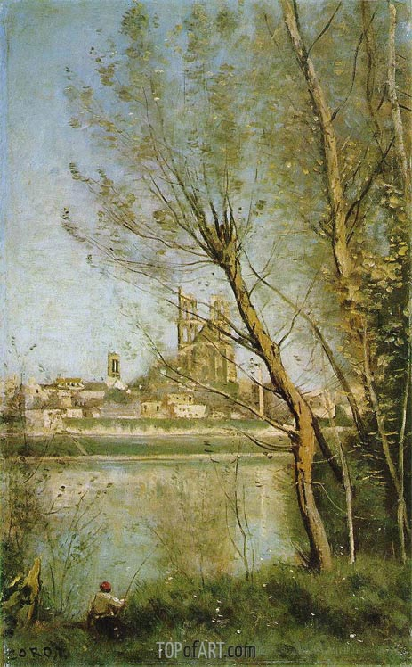 The Cathedral of Mantes, c.1865/69 | Corot | Painting Reproduction