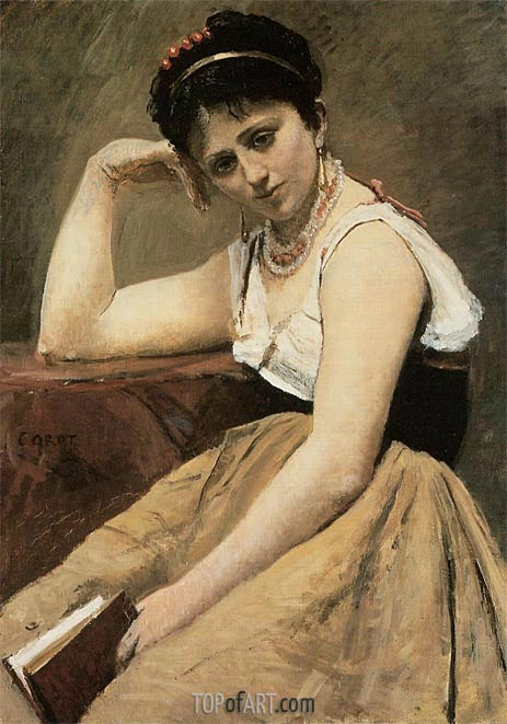 Interrupted Reading, c.1870 | Corot | Painting Reproduction