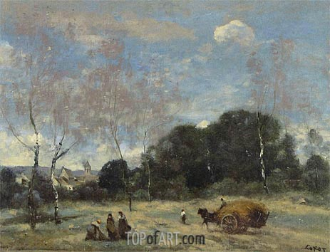 The Return of the Hayers to Marcoussis, c.1870/74 | Corot | Painting Reproduction