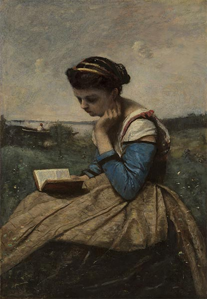 A Woman Reading in a Landscape, 1869 | Corot | Painting Reproduction