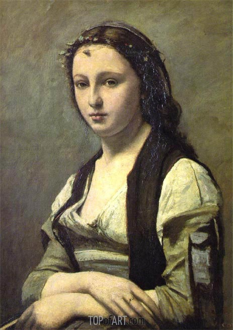Woman with a Pearl, c.1858/68 | Corot | Painting Reproduction