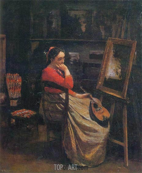 The Studio - Young Woman with a Mandolin, 1865   Corot   Painting Reproduction