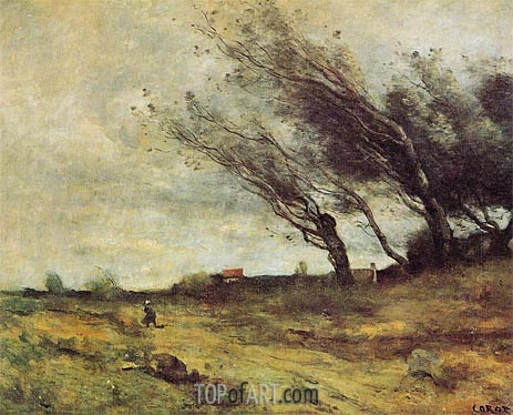 Windswept Landscape, 1865 | Corot | Painting Reproduction