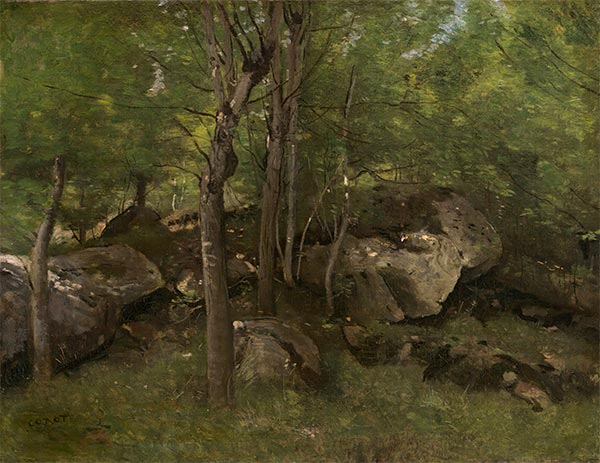 Rocks in the Forest of Fontainebleau, c.1860/65 | Corot | Painting Reproduction