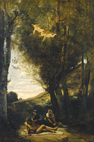 Saint Sebastian Succored by the Holy Women, 1874 | Corot | Painting Reproduction