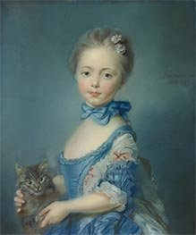 A Girl with a Kitten, 1743 by Jean-Baptiste Perronneau | Painting Reproduction