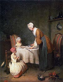 Saying Grase (Le Beneoicite), 1744 by Chardin | Painting Reproduction