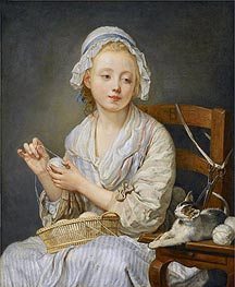 The Wool Winder, c.1759 by Jean-Baptiste Greuze | Painting Reproduction
