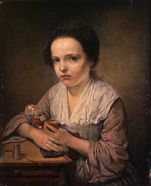 Girl with a Doll, c.1750 von Jean-Baptiste Greuze | Gemälde-Reproduktion