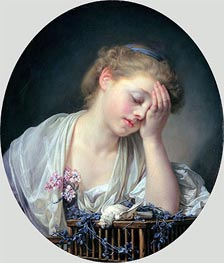 Girl Weeping over her Dead Canary | Jean-Baptiste Greuze | Painting Reproduction