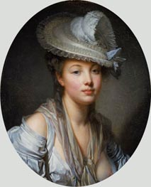 Young Woman in a White Hat, c.1780 von Jean-Baptiste Greuze | Gemälde-Reproduktion