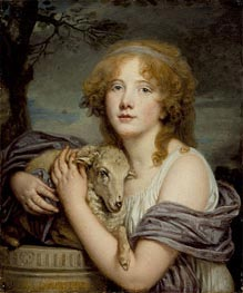 Girl with a Lamb, c.1785 by Jean-Baptiste Greuze | Painting Reproduction