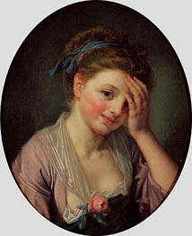 Young Girl with a Rose | Jean-Baptiste Greuze | Painting Reproduction