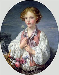 Young Boy with a Basket of Flowers, c.1760/61 by Jean-Baptiste Greuze | Painting Reproduction