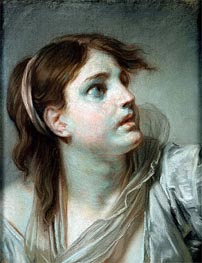 Head of a Young Girl | Jean-Baptiste Greuze | Painting Reproduction