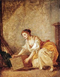A Young Girl Lifting a Chest | Jean-Baptiste Greuze | Gemälde Reproduktion
