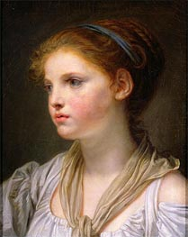 Girl with a Blue Ribbon | Jean-Baptiste Greuze | Painting Reproduction