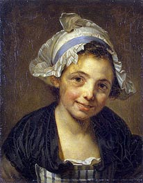 Head of a Young Girl in a Bonnet, c.1760/68 by Jean-Baptiste Greuze | Painting Reproduction