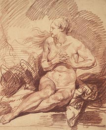 Seated Female Nude, undated von Jean-Baptiste Greuze | Gemälde-Reproduktion