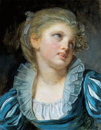 Girl in a Blue Dress | Jean-Baptiste Greuze | Painting Reproduction