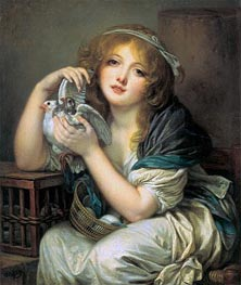 Girl with Doves, c.1799/00 von Jean-Baptiste Greuze | Gemälde-Reproduktion