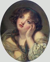 Girl Leaning on Her Hand | Jean-Baptiste Greuze | Painting Reproduction