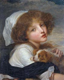 Young Girl with a Spaniel | Jean-Baptiste Greuze | Painting Reproduction