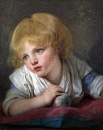 A Child with an Apple, undated by Jean-Baptiste Greuze | Painting Reproduction