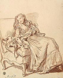 Young Woman in an Artchair, c.1765 by Jean-Baptiste Greuze | Painting Reproduction