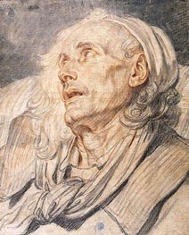 Study for 'The Paralytic'. Head of an Old Man, c.1760 by Jean-Baptiste Greuze | Painting Reproduction