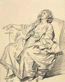 Young Woman Seated in an Armchair, 1765 by Jean-Baptiste Greuze | Painting Reproduction