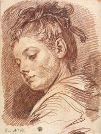 Head of a Young Woman, b.1769 by Jean-Baptiste Greuze | Painting Reproduction
