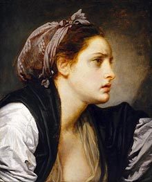Study Head of a Woman, undated by Jean-Baptiste Greuze | Painting Reproduction