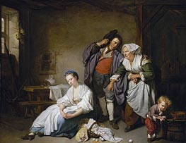 Broken Eggs, 1756 by Jean-Baptiste Greuze | Painting Reproduction