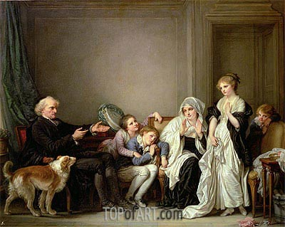 The Widow and Her Priest, undated | Jean-Baptiste Greuze | Painting Reproduction