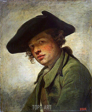 A Young Man in a Hat, c.1750 | Jean-Baptiste Greuze | Painting Reproduction