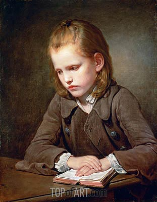 A Boy with a Lesson Book, 1757 | Jean-Baptiste Greuze | Painting Reproduction