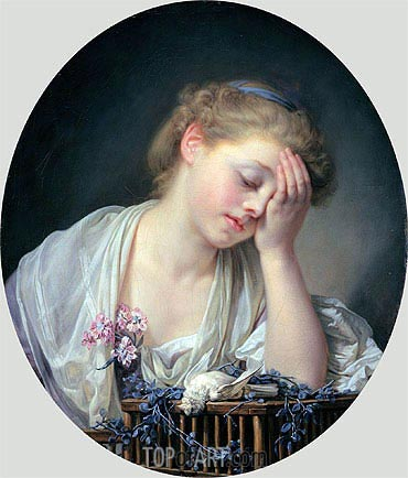 Girl Weeping over her Dead Canary, c.1765 | Jean-Baptiste Greuze | Painting Reproduction