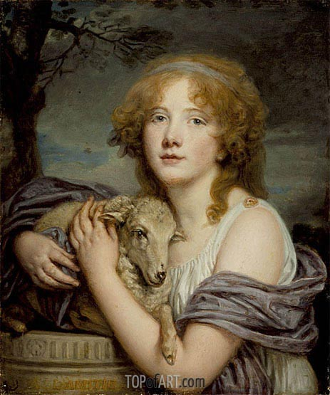 Girl with a Lamb, c.1785 | Jean-Baptiste Greuze | Painting Reproduction