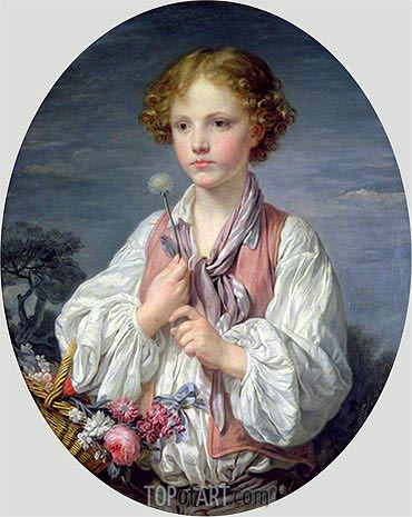 Young Boy with a Basket of Flowers, undated | Jean-Baptiste Greuze | Gemälde Reproduktion