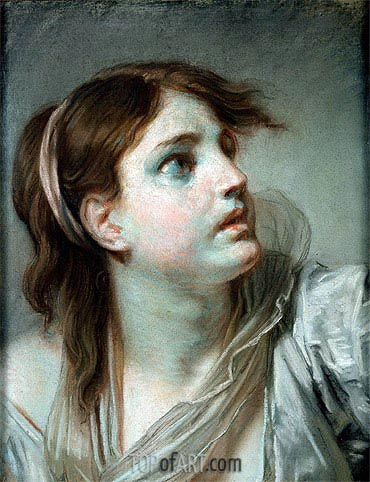 Head of a Young Girl, undated | Jean-Baptiste Greuze | Painting Reproduction