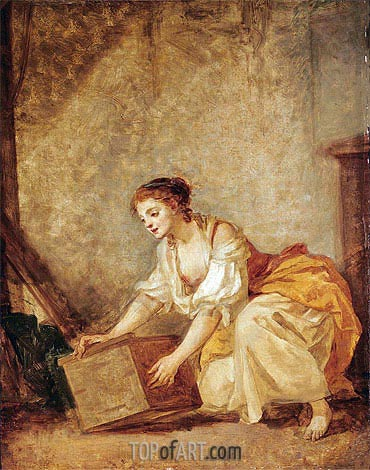 A Young Girl Lifting a Chest, undated | Jean-Baptiste Greuze | Painting Reproduction