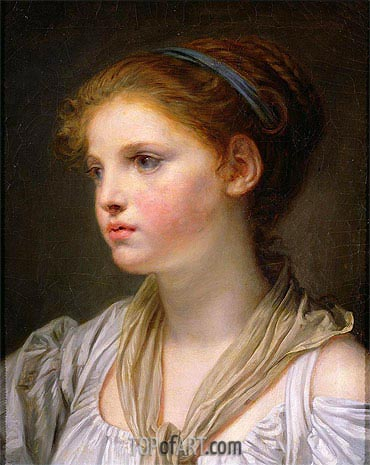 Girl with a Blue Ribbon, undated | Jean-Baptiste Greuze | Painting Reproduction