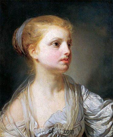 Girl in a White Dress, c.1765   Jean-Baptiste Greuze   Painting Reproduction