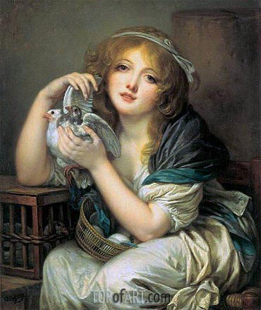 Girl with Doves, c.1799/00 | Jean-Baptiste Greuze | Painting Reproduction
