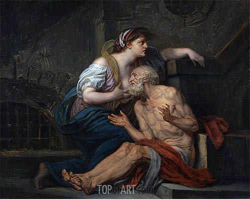 Cimon and Pero (Roman Charity), c.1767 | Jean-Baptiste Greuze | Painting Reproduction