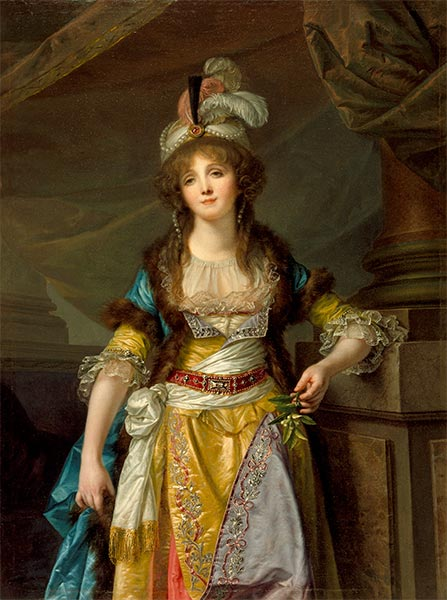 Portrait of a Lady in Turkish Fancy Dress, c.1790 | Jean-Baptiste Greuze | Painting Reproduction