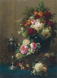 Still Life of Flowers with a Coconut Chalice on a Table, 1873 by Jean-Baptiste Robie | Painting Reproduction