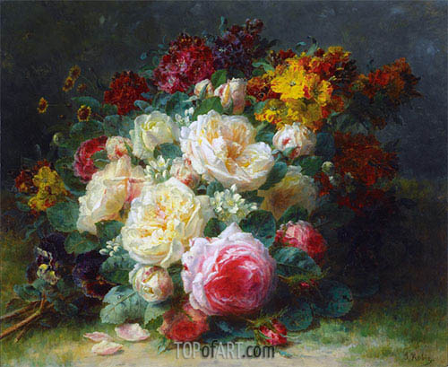 A Bouquet of Cabbage Roses, undated | Jean-Baptiste Robie | Painting Reproduction